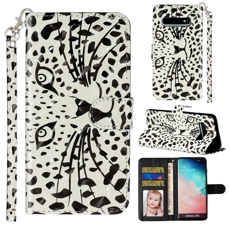 Leopard Panther 3D Leather Phone Holster Wallet Case for Samsung Galaxy S10 (6.1 inch)
