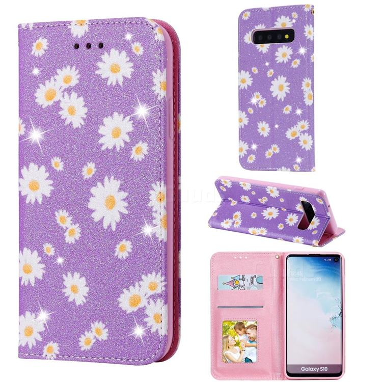 Ultra Slim Daisy Sparkle Glitter Powder Magnetic Leather Wallet Case for Samsung Galaxy S10 (6.1 inch) - Purple