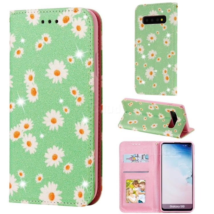 Ultra Slim Daisy Sparkle Glitter Powder Magnetic Leather Wallet Case for Samsung Galaxy S10 (6.1 inch) - Green