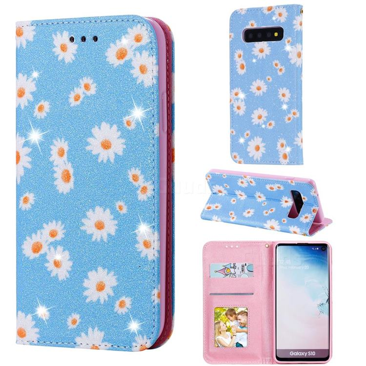 Ultra Slim Daisy Sparkle Glitter Powder Magnetic Leather Wallet Case for Samsung Galaxy S10 (6.1 inch) - Blue