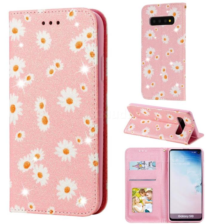 Ultra Slim Daisy Sparkle Glitter Powder Magnetic Leather Wallet Case for Samsung Galaxy S10 (6.1 inch) - Pink
