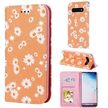 Ultra Slim Daisy Sparkle Glitter Powder Magnetic Leather Wallet Case for Samsung Galaxy S10 (6.1 inch) - Orange