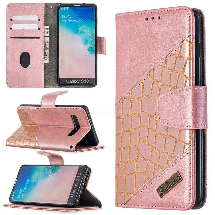 BinfenColor BF04 Color Block Stitching Crocodile Leather Case Cover for Samsung Galaxy S10 (6.1 inch) - Rose Gold