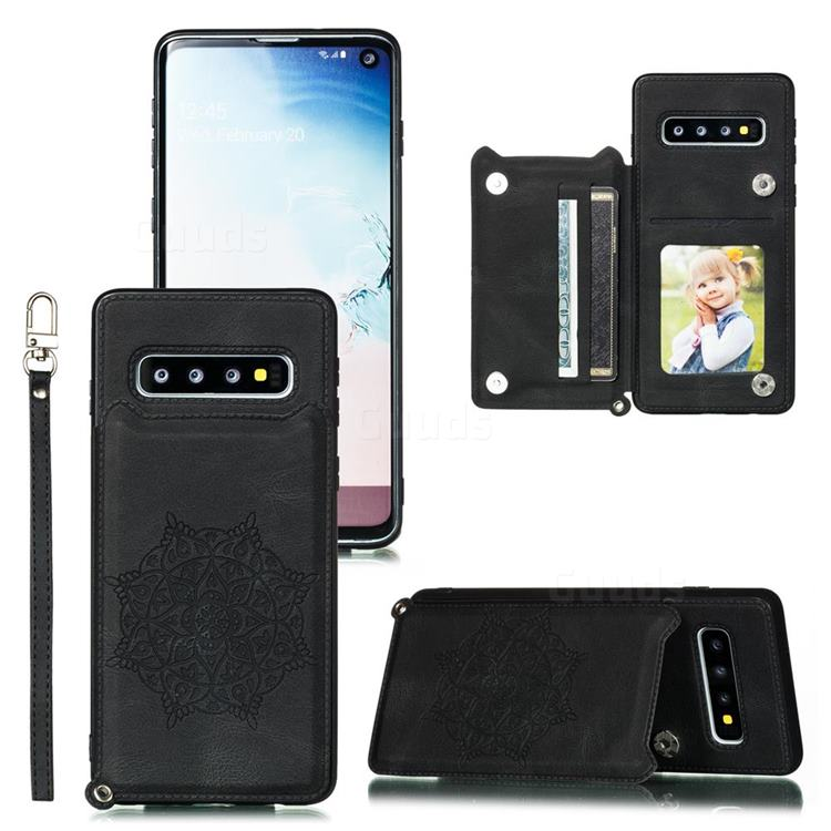 Luxury Mandala Multi-function Magnetic Card Slots Stand Leather Back Cover for Samsung Galaxy S10 (6.1 inch) - Black