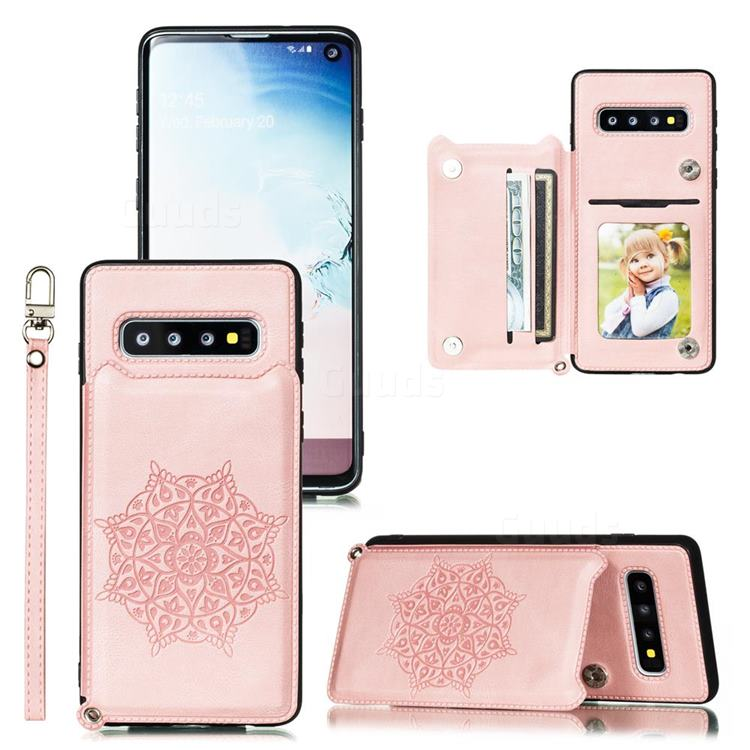 Luxury Mandala Multi-function Magnetic Card Slots Stand Leather Back Cover for Samsung Galaxy S10 (6.1 inch) - Rose Gold