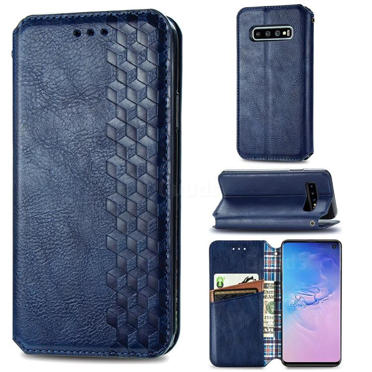 Ultra Slim Fashion Business Card Magnetic Automatic Suction Leather Flip Cover for Samsung Galaxy S10 (6.1 inch) - Dark Blue