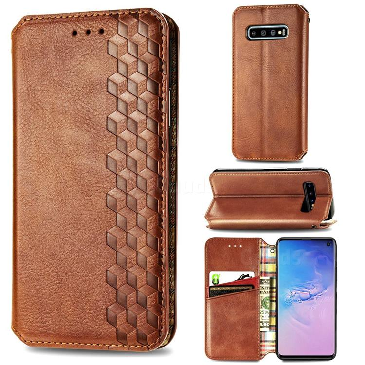 Ultra Slim Fashion Business Card Magnetic Automatic Suction Leather Flip Cover for Samsung Galaxy S10 (6.1 inch) - Brown