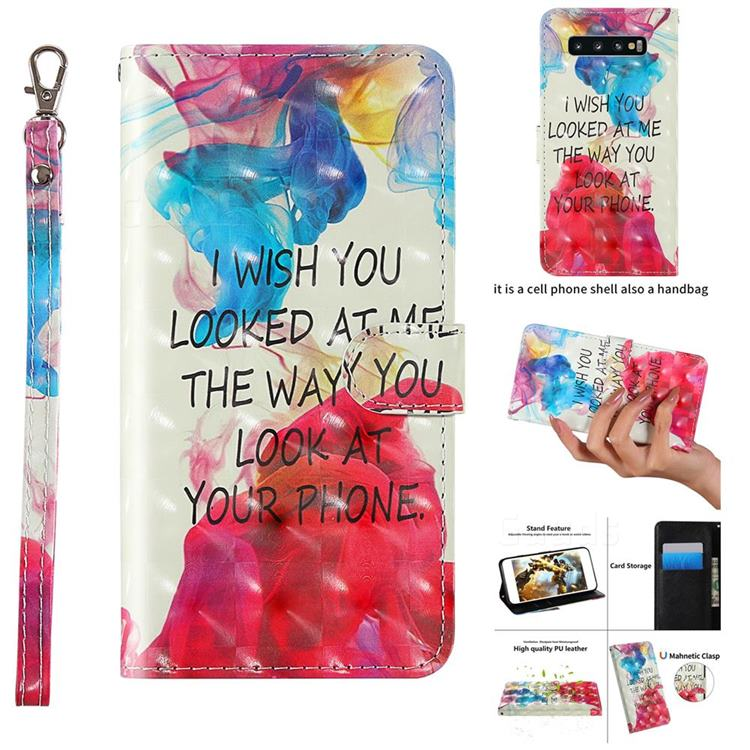 Look at Phone 3D Painted Leather Wallet Case for Samsung Galaxy S10 (6.1 inch)