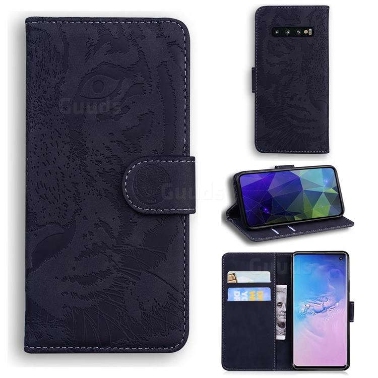 Intricate Embossing Tiger Face Leather Wallet Case for Samsung Galaxy S10 (6.1 inch) - Black