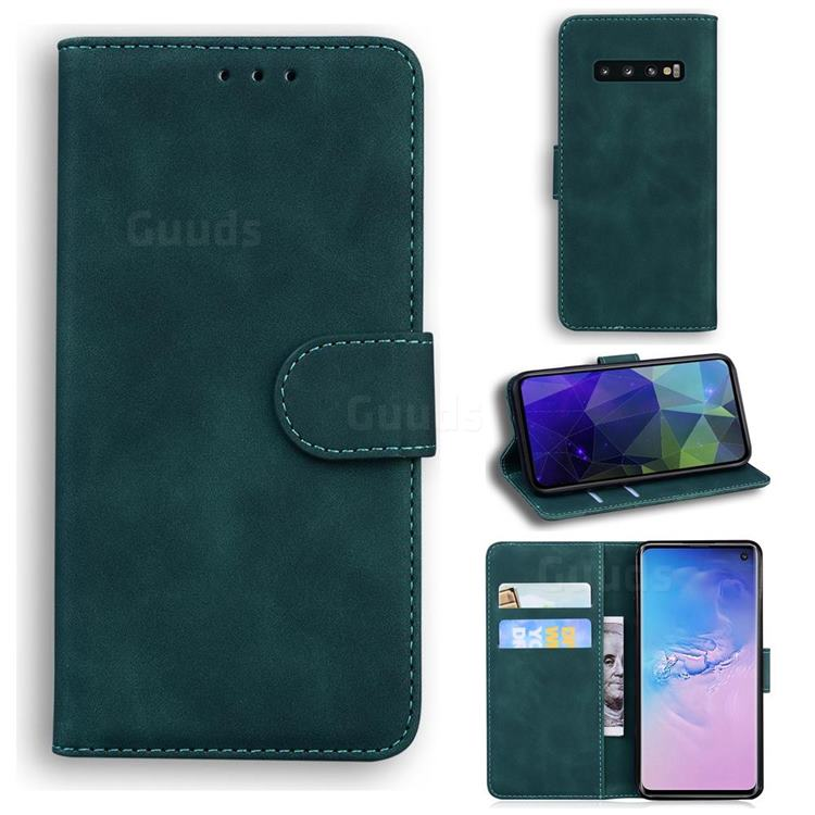 Retro Classic Skin Feel Leather Wallet Phone Case for Samsung Galaxy S10 (6.1 inch) - Green