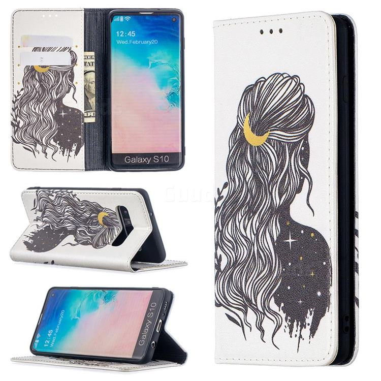 Girl with Long Hair Slim Magnetic Attraction Wallet Flip Cover for Samsung Galaxy S10 (6.1 inch)