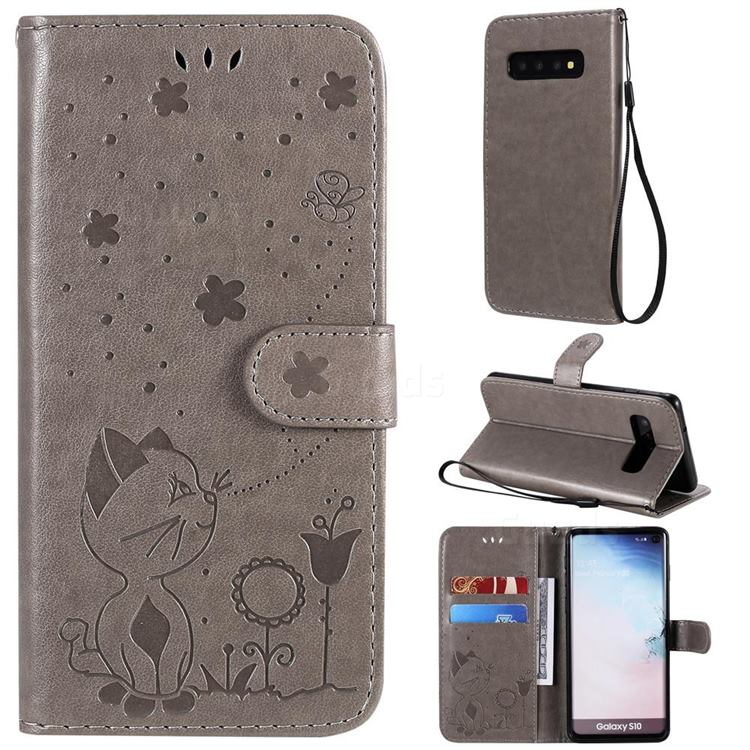 Embossing Bee and Cat Leather Wallet Case for Samsung Galaxy S10 (6.1 inch) - Gray