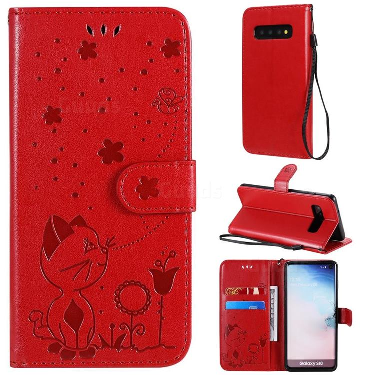 Embossing Bee and Cat Leather Wallet Case for Samsung Galaxy S10 (6.1 inch) - Red