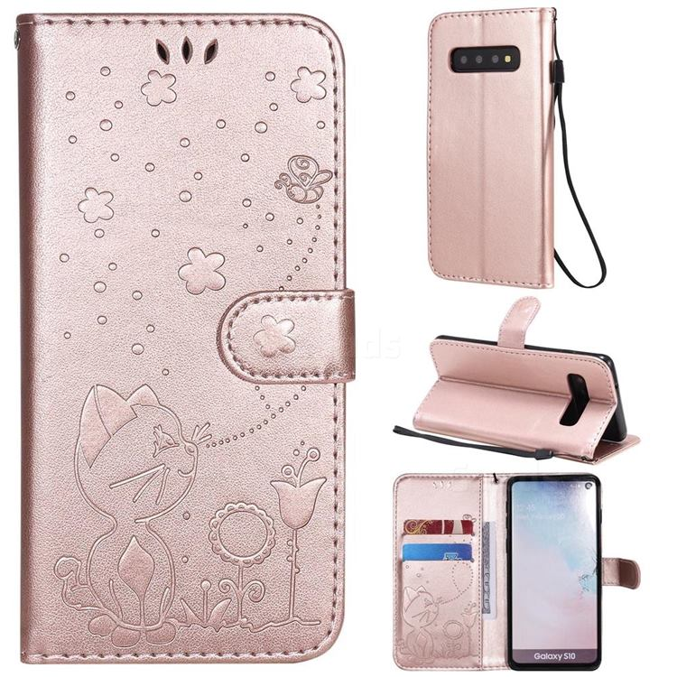 Embossing Bee and Cat Leather Wallet Case for Samsung Galaxy S10 (6.1 inch) - Rose Gold