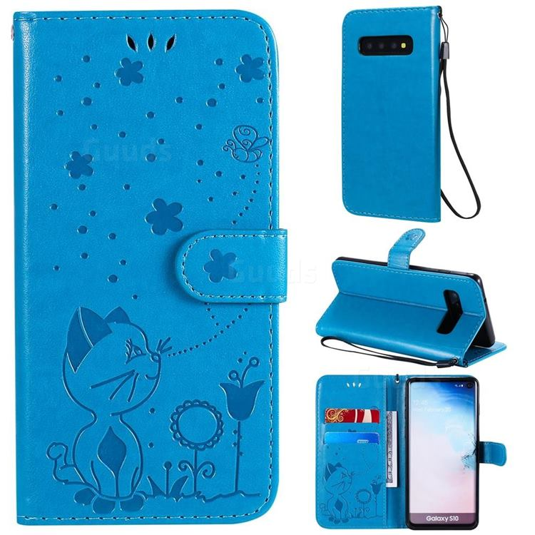 Embossing Bee and Cat Leather Wallet Case for Samsung Galaxy S10 (6.1 inch) - Blue