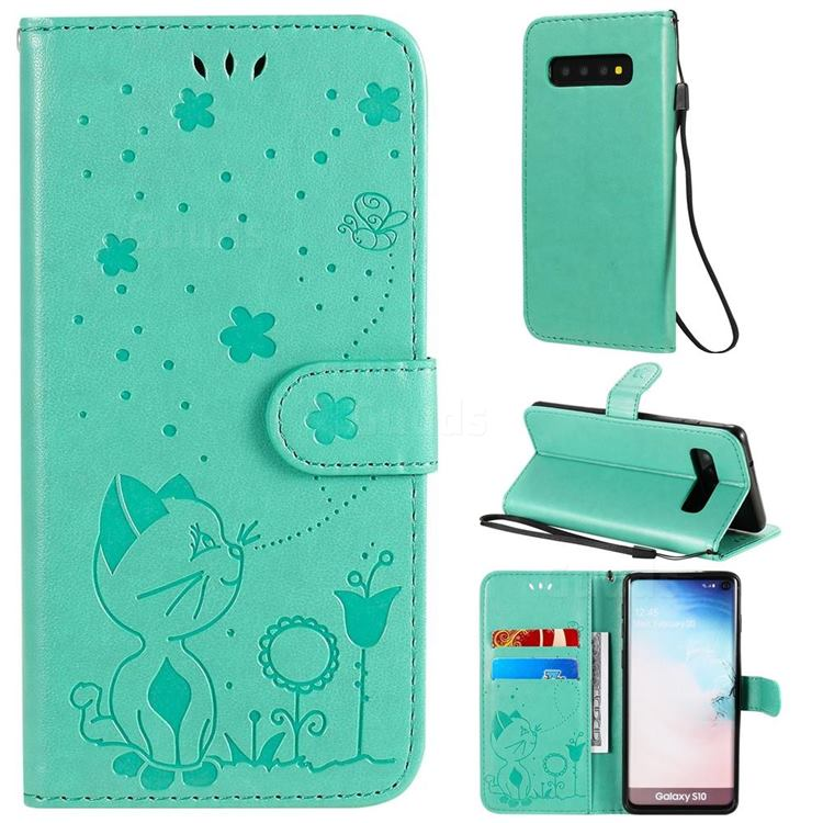 Embossing Bee and Cat Leather Wallet Case for Samsung Galaxy S10 (6.1 inch) - Green