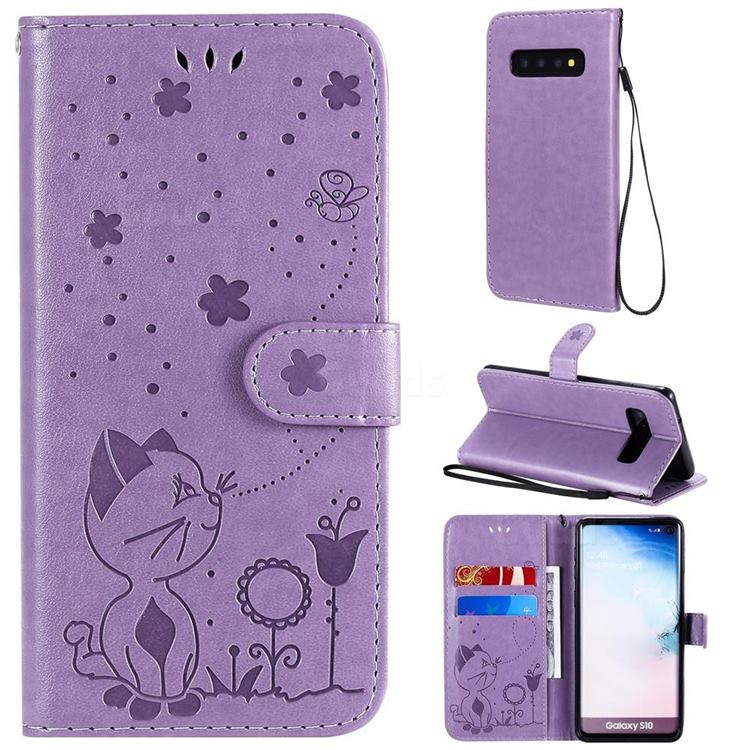 Embossing Bee and Cat Leather Wallet Case for Samsung Galaxy S10 (6.1 inch) - Purple