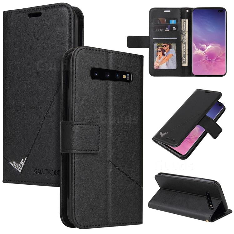 GQ.UTROBE Right Angle Silver Pendant Leather Wallet Phone Case for Samsung Galaxy S10 (6.1 inch) - Black