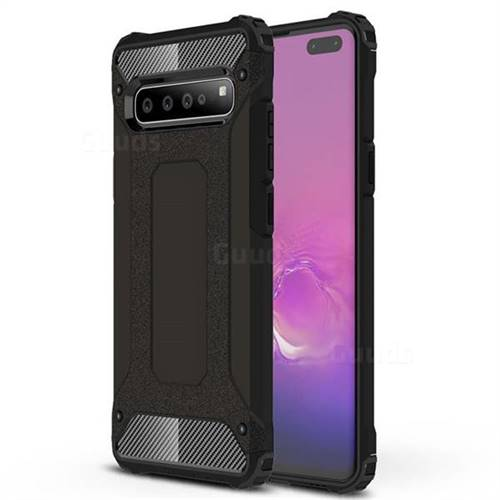 King Kong Armor Premium Shockproof Dual Layer Rugged Hard Cover for Samsung Galaxy S10 5G (6.7 inch) - Black Gold