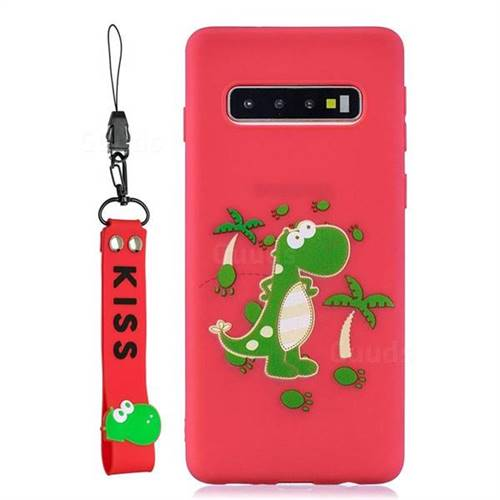 Red Dinosaur Soft Kiss Candy Hand Strap Silicone Case for Samsung Galaxy S10 5G (6.7 inch)