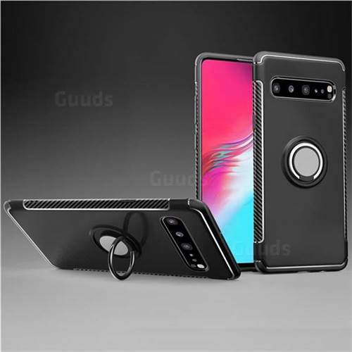 Armor Anti Drop Carbon PC + Silicon Invisible Ring Holder Phone Case for Samsung Galaxy S10 5G (6.7 inch) - Black