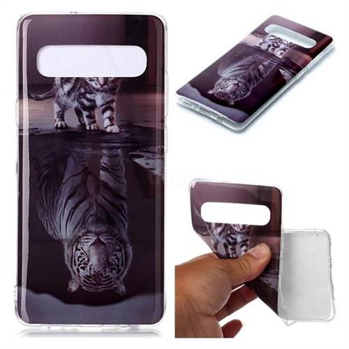 Cat and Tiger Soft TPU Cell Phone Back Cover for Samsung Galaxy S10 5G (6.7 inch)