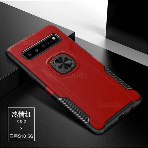 Knight Armor Anti Drop PC + Silicone Invisible Ring Holder Phone Cover for Samsung Galaxy S10 5G (6.7 inch) - Red