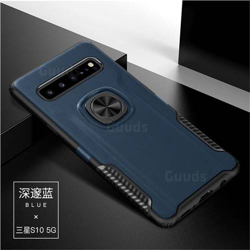 Knight Armor Anti Drop PC + Silicone Invisible Ring Holder Phone Cover for Samsung Galaxy S10 5G (6.7 inch) - Sapphire