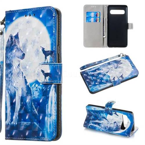 Ice Wolf 3D Painted Leather Wallet Phone Case for Samsung Galaxy S10 5G (6.7 inch)