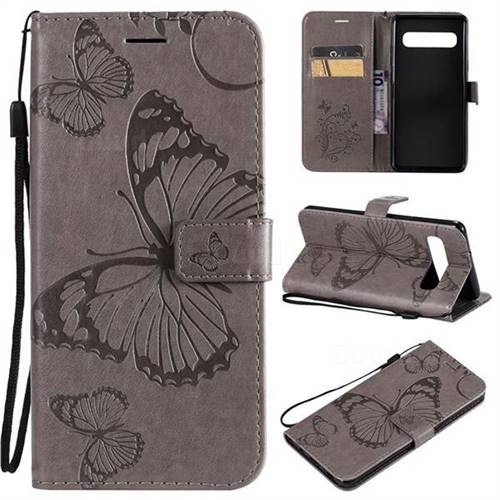 Embossing 3D Butterfly Leather Wallet Case for Samsung Galaxy S10 5G (6.7 inch) - Gray