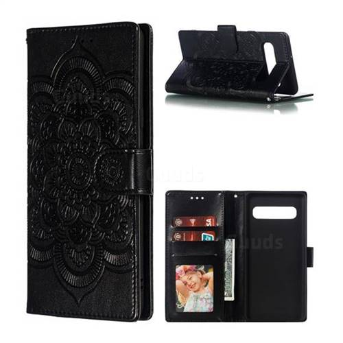 Intricate Embossing Datura Solar Leather Wallet Case for Samsung Galaxy S10 5G (6.7 inch) - Black