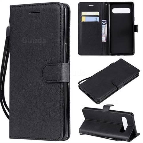 Retro Greek Classic Smooth PU Leather Wallet Phone Case for Samsung Galaxy S10 5G (6.7 inch) - Black