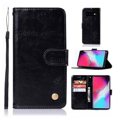 Luxury Retro Leather Wallet Case for Samsung Galaxy S10 5G (6.7 inch) - Black
