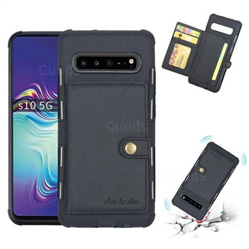 Brush Multi-function Leather Phone Case for Samsung Galaxy S10 5G (6.7 inch) - Black