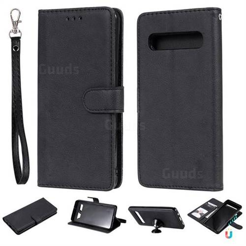 Retro Greek Detachable Magnetic PU Leather Wallet Phone Case for Samsung Galaxy S10 5G (6.7 inch) - Black