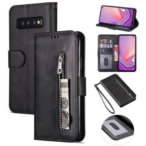 on sale e9fa7 599fd Retro Calfskin Zipper Leather Wallet Case Cover for Samsung Galaxy S10 5G  (6.7 inch) - Black