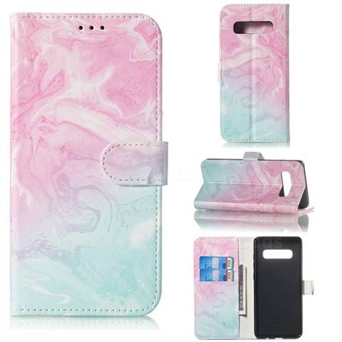 Pink Green Marble PU Leather Wallet Case for Samsung Galaxy S10 5G (6.7 inch)