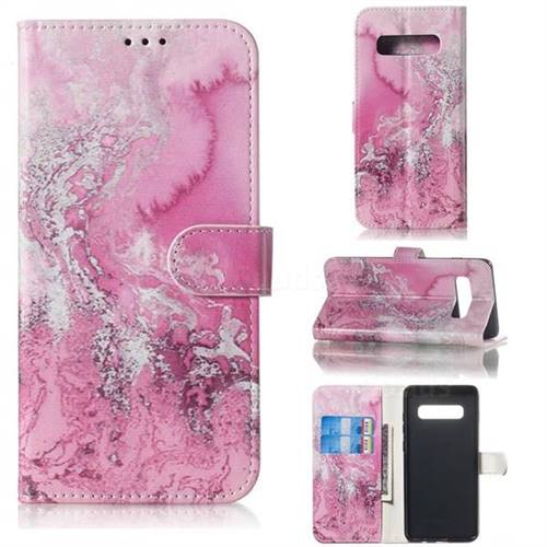 Pink Seawater PU Leather Wallet Case for Samsung Galaxy S10 5G (6.7 inch)