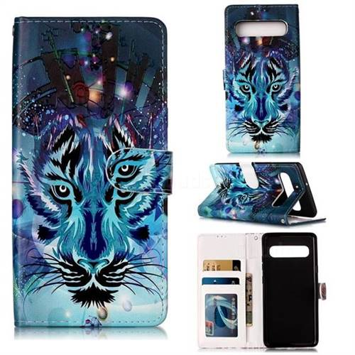 Ice Wolf 3D Relief Oil PU Leather Wallet Case for Samsung Galaxy S10 5G (6.7 inch)