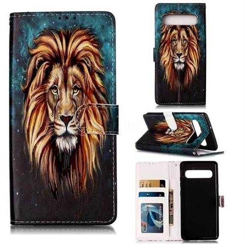 Ice Lion 3D Relief Oil PU Leather Wallet Case for Samsung Galaxy S10 5G (6.7 inch)