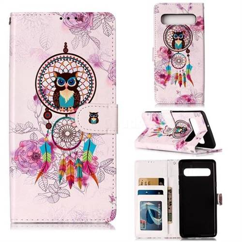 Wind Chimes Owl 3D Relief Oil PU Leather Wallet Case for Samsung Galaxy S10 5G (6.7 inch)