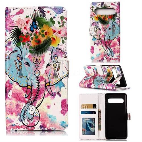 Flower Elephant 3D Relief Oil PU Leather Wallet Case for Samsung Galaxy S10 5G (6.7 inch)