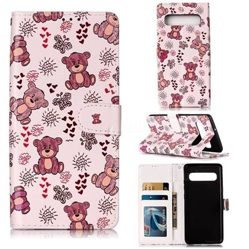 Cute Bear 3D Relief Oil PU Leather Wallet Case for Samsung Galaxy S10 5G (6.7 inch)