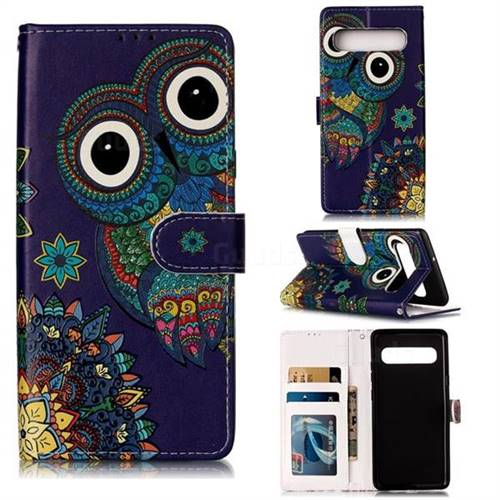 Folk Owl 3D Relief Oil PU Leather Wallet Case for Samsung Galaxy S10 5G (6.7 inch)
