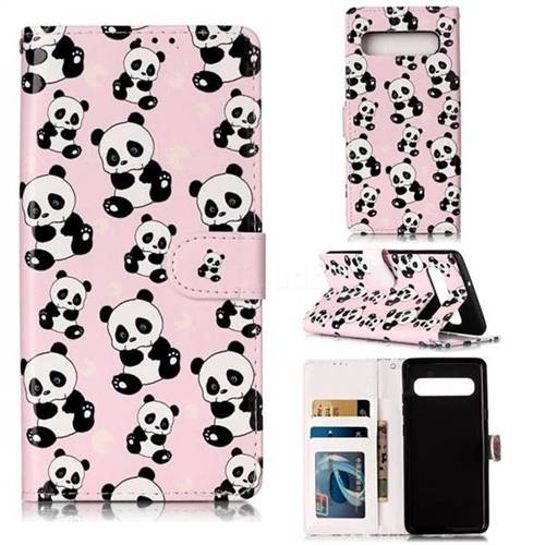 Cute Panda 3D Relief Oil PU Leather Wallet Case for Samsung Galaxy S10 5G (6.7 inch)