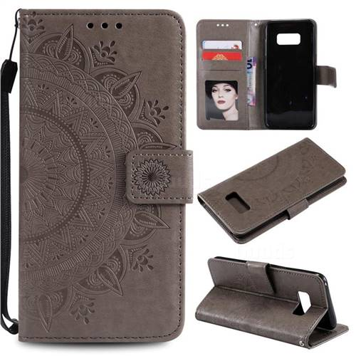 Intricate Embossing Datura Leather Wallet Case for Samsung Galaxy S10 5G (6.7 inch) - Gray
