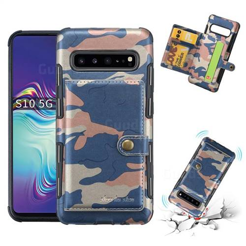 Camouflage Multi-function Leather Phone Case for Samsung Galaxy S10 5G (6.7 inch) - Blue