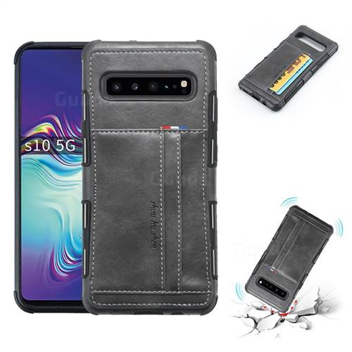 Luxury Shatter-resistant Leather Coated Card Phone Case for Samsung Galaxy S10 5G (6.7 inch) - Gray