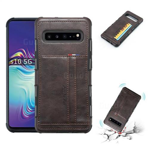 Luxury Shatter-resistant Leather Coated Card Phone Case for Samsung Galaxy S10 5G (6.7 inch) - Coffee