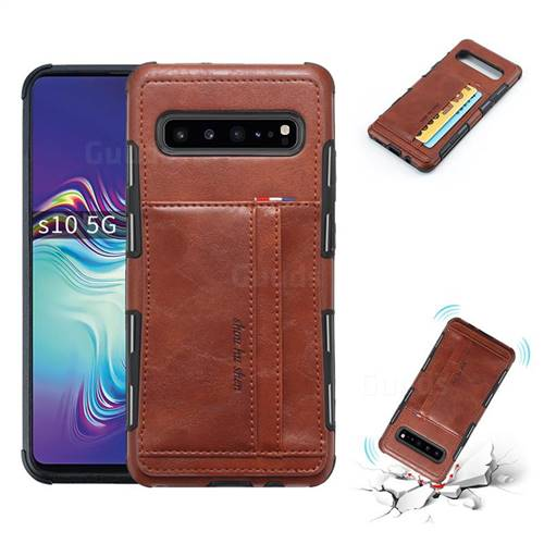 Luxury Shatter-resistant Leather Coated Card Phone Case for Samsung Galaxy S10 5G (6.7 inch) - Brown